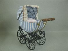 Baby Pram - Blue and White