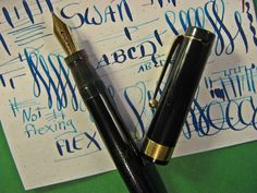 SWAN L 470 60 Fountain Pen #4 14k Flex Stub Nib 18K Gold Band Mabie Todd vtg #SWAN