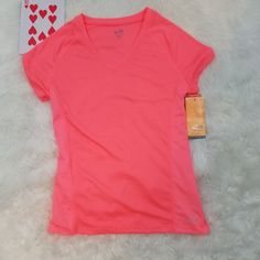 Champion womens high performance xs tee shirt sunset fitted mesh v neck nwt #Champion #Blouse #Casual
