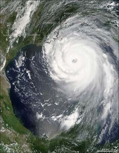 Hurricane Katrina is imaged by NASA's Terra satellite at 1 p.m. Eastern Time Sunday, two hours after the National Hurricane Center announced that the hurricane was set to become one of the most powerful storms to strike the U.S. In this image Katrina is a Category Five hurricane, the highest category in the hurricane-strength scale.
