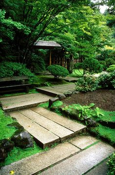 "Japanese Garden. ""The path here turns at right angles because it is believed that evil spirits can only travel in straight lines and therefore have trouble navigating the corners."""