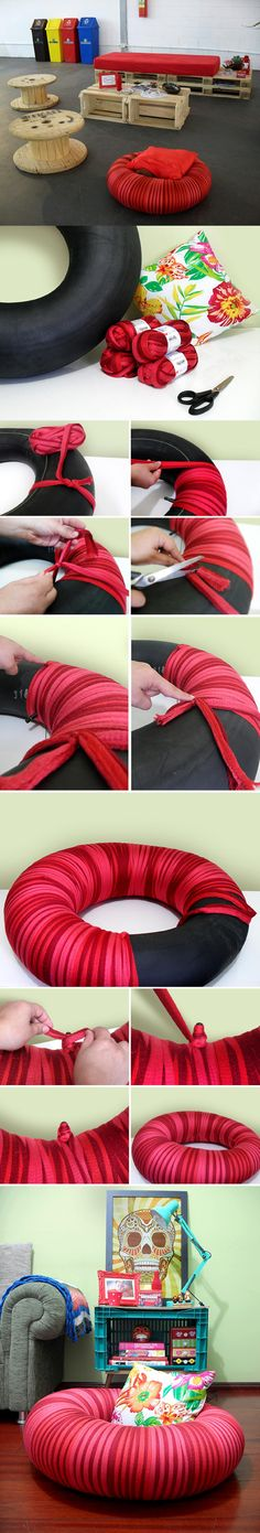 DIY Tire Tube Seating - I don't know how I feel about this. Maybe needs vintage ribbon instead and shabby chick fabric for cushion. Make into dog bed? Fun Crafts, Diy And Crafts, Arts And Crafts, Craft Projects, Projects To Try, Wood Projects, Do It Yourself Fashion, Old Tires, Ideias Diy