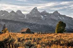 Sunset at Moulton Barn in the Tetons