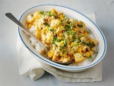 Hedelmäinen broilerikastike Cauliflower, Macaroni And Cheese, Curry, Chicken, Meat, Baking, Vegetables, Ethnic Recipes, Food