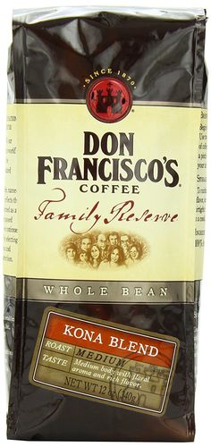 Don Francisco Family Reserve Kona Blend Whole Bean Coffee >>> Check this awesome product by going to the link at the image.