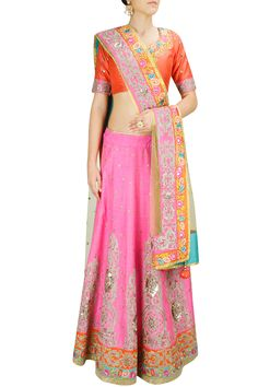 Candy pink and coral embroidered lehenga set BY CITA 9. Shop now at: www.perniaspopups... #perniaspopupshop #amazing #beautiful #clothes #style #designer #fashion #stunning #trend #new