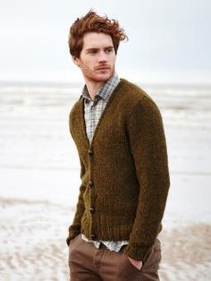 Stour - Knit this mens stocking stitch cardigan from the Brushed Fleece brochure designed by Martin Storey using Brushed Fleece (extra fine merino and baby alpaca) . With v neck and set in  sleeves. This knitting pattern is for the beginner knitter.