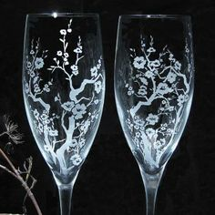 Cherry Blossom Wedding Champagne Flutes, Personalized Fine Crystal, Spring Wedding