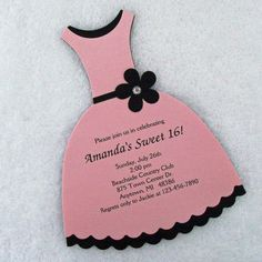 Personalized Sweet 16 Party Dress Invitations Pink by susiedees