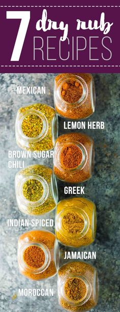 7 easy dry rub recipes for meat or veggies– these rubs are absolutely perfect to mix up the flavors in your meal prep!  They are great on sheet pan dinners, roasted or grilled veggies, meat and seafood.