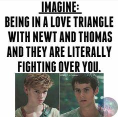 Please, please... I choose Newt. Sorry Thomas, even though I like you too, I like Newt more...