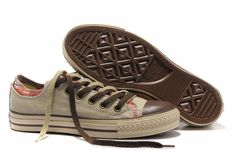 Plaid Converse All-Star Shoe | Converse_Rens_Double_Upper_All_Star_Oxford_Low_Tops_Beige_Canvas ...