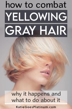 Yellowing gray hair is a common problem for many women. Luckily, there are a lot of ways to prevent and treat yellow tones in gray hair Read on to find out how to keep your grays from yellowing and how to get your silvers shining again! #grayhair #greyhair #goinggray Grey Hair Turning Yellow, Grey White Hair, Long Gray Hair, Short Hair, Lilac Hair, Green Hair, Blue Hair, Pastel Hair, Shampoo For Gray Hair