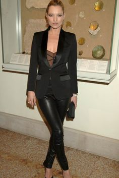Kate Moss in leather trousers, from Marie Claire.com