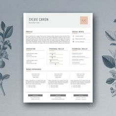 Resume Template 3 page / CV Template by Botanica Paperie / Professional Resume Template for MS Word / Minimal Resume Design & FREE Cover Letter Cover Letter For Resume, Cover Letter Template, Cv Template, Letter Templates, Cv Curriculum Vitae, Resume Tips, Resume Examples, Free Icon Packs, Creative Resume Templates