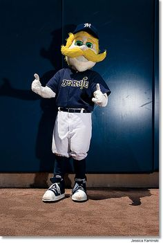 Milwaukee Brewers Baseball Club's Official Mascot Bernie Brewer