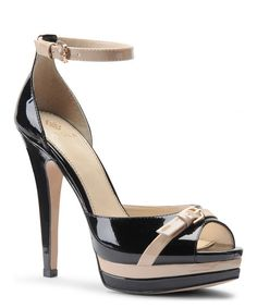 Black & Cream Patent Leather Daisi Open-Toe Shoe