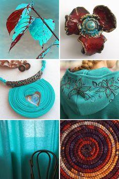Handmade items set, see more: http://www.livemaster.ru/gallery/1438913 #handmade #art #design /   «Бирюзовые мгновенья» — коллекция предметов ручной работы