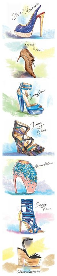 Fashion Sketches: Designer Shoes. Really like the use of colour behind the shoes in these drawings, would bring out the designs more than just plain image