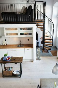 Kitchen inspiration: top cabinets, butcher block counters, kitchen island