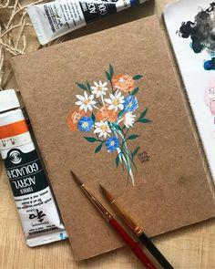 Dainty florals on a notebook ? Dainty florals on a notebook ? Sketchbook Cover, Guache, Handmade Books, Handmade Notebook, Renaissance Art, Acrylic Painting Canvas, Art Sketches, Sketch Drawing, Painting & Drawing