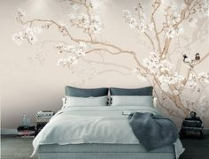 Custom Mural Wallpaper Modern Chinese Style Hand Painted Magnolia Flower Bird Photo Wallpaper Bedroom Papel De Parede Home Decor Wall Murals Bedroom, Tree Wall Murals, Living Room Bedroom, Bedroom Bed, 3d Wallpaper For Walls, Photo Wallpaper, Bird Wallpaper, Paper Wallpaper, Painting Wallpaper