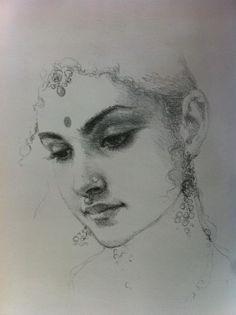 Best ideas for dancing drawings pencil Dancing Drawings, Cool Art Drawings, Pencil Art Drawings, Art Drawings Sketches, Pencil Sketching, Pencil Shading, Drawing Ideas, Indian Women Painting, Indian Art Paintings