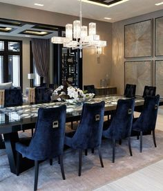 33 The Best Modern Dining Room Furniture Ideas - Modern furniture, like modern art, is characterized by unconventional styles and designs. Most design concepts from the old-style furniture were disca. Luxury Dining Room, Elegant Dining Room, Dining Room Lighting, Dining Room Design, Dining Room Furniture, Modern Furniture, Ceiling Lighting, Furniture Ideas, Luxury Decor