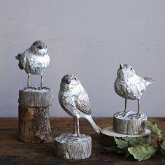 Bird Statue With Pedestal, Set of have a distressed white finish. Visit Antique Farmhouse for more bird figurines. Antique Farmhouse, Farmhouse Style, Chestnut Hill, Bird Statues, Wooden Animals, Bird Cage, Home Decor Accessories, Pedestal, Bird Feeders