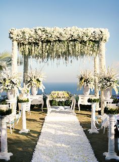 Incredible flowers and overall scenery at this seaside wedding ceremony.