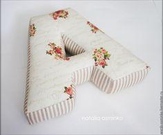 Купить Буквы-подушки, 25 см - бежевый, буквы-подушки, буквы-имя, интерьерные слова