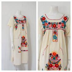 427e766e0 Mexican Embroidered Dress  Boho Dress  Mexicali Cotton Mumu  Women s Size  Medium. Vestido Bordado Mexicano ...