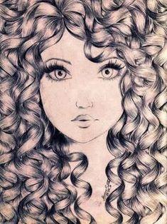 Hair, drawing pencil art in 2019 draw, curly hair drawing, curly ha Amazing Drawings, Beautiful Drawings, Cool Drawings, Amazing Art, Beautiful Images, Curly Hair Drawing, Anime Curly Hair, Curly Hair Cartoon, Wow Art