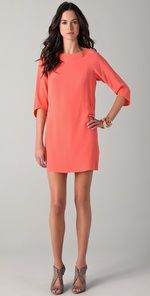 simple, solid colored dresses with sleeves.