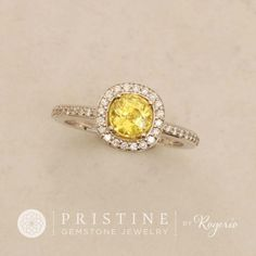Canary Yellow Sapphire Engagement Ring 14k White Gold Diamond Halo Square Cushion Shape September Birthstone