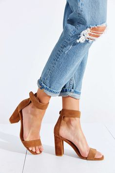 Tan heels with distressed denim