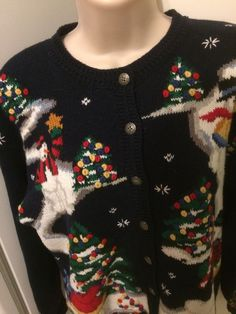 Countryside Classic Ugly Christmas Cardigan Sweater Size M Snowman Xmas  Tree  016c7adc7
