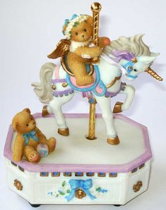 Heidi´s Cherished Teddies Galerie: GIRL RIDING UNICORN CAROUSEL - MINUET NO. 3 BY BACH MUSICAL ...