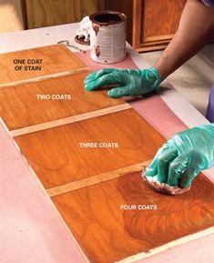 How to Stain Wood Evenly Without Getting Blotches and Dark Spots Get a perfect finish on even hard-to-stain woods like cherry and pine. (Douglas fir has a particular problem too. Staining Pine Wood, Stain On Pine, How To Stain Wood, Wood Staining Techniques, Pine Furniture, Furniture Makeover, Furniture Refinishing, Reclaimed Furniture, Painting Furniture