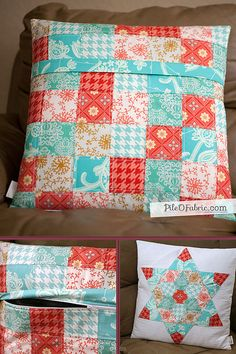 Favorite quilted pillow sham tutorial.  http://www.pileofabric.com/post/1304969-adding-a-zipper-to-a-quilted
