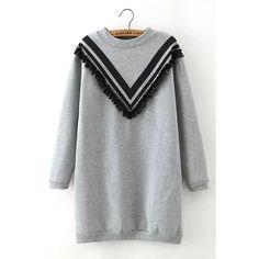 Yoins Letter And Number 8 Print Fringed Longline Sweatshirt (€18) ❤ liked on Polyvore featuring tops, hoodies, sweatshirts, dresses, grey, grey sweatshirt, christmas sweatshirt, print tops, print sweatshirt and christmas tops