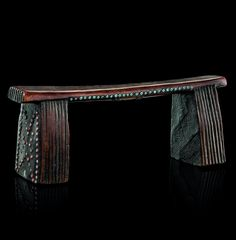 Africa | Headrest from the Zulu people of South Africa | Wood, decorated with inlaid beads