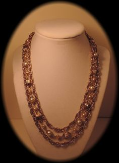 Triple Strand Gold Tone and Faux Pearl Necklace by thejeweledbear, $16.00