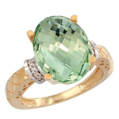 10K Yellow Gold Diamond Natural Green Amethyst Ring Oval 14x10mm, sizes 7.5, Women's