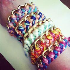 DIY braided chain bracelets
