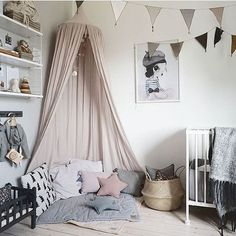 Another beautiful image of this vintage inspired nursery by @baravickan featuring Mrs Mighetto's 'Miss Vivienne' print & Numero74 canopy in Powder