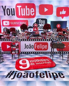 Fiesta temática de Youtube 13th Birthday Parties, My Birthday Cake, 9th Birthday, Birthday Party Decorations, Youtube Theme, Youtube Party, Youtube Birthday, Instagram Party, Childrens Party