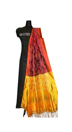 """Grab these colour full """"#ikat #silk #dupattas"""" elegance to your apperance and help to hold your style and look together.... Price:Rs.2950/- Wash care : Normal wash (for trade inquiries please contact our whatsapp no  Single / Retail Customer ...please contact 8099433433 B2B/Resellers/Bulk buyers...please contact 8801302000)"""