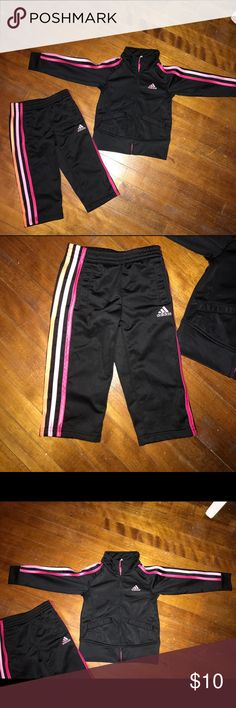 Adidas Girls 2T Black 2 Piece Track Suit Adidas Girls 2T Black 2 Piece Track Suit. Like new condition. Single owner - smoke and pet free home.  Please review all photos and ask questions prior to purchase Adidas Matching Sets