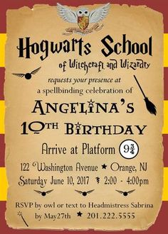 Harry Potter Birthday Party Invitation - Customized by KatieandLaLa on Etsy https://www.etsy.com/listing/519790144/harry-potter-birthday-party-invitation